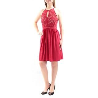MORGAN & CO $79 Womens New 2868 Red Lace Keyhole Fit + Flare Dress 9 Juniors B+B