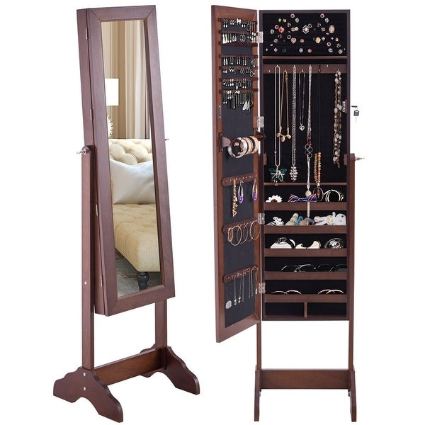 Costway Mirrored Jewelry Cabinet Armoire Storage Organizer Box W/ Stand  Christmas Gift   Walnut