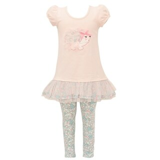 Bonnie Jean Baby Girls Peach Animal Applique Floral 2 Pc Legging Outfit (3 options available)