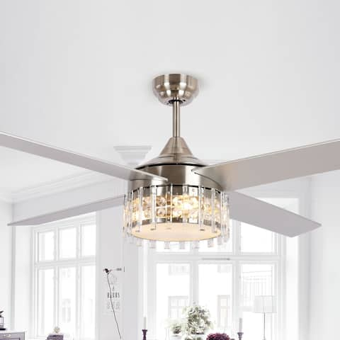 Modern 52-in Wood 4-Blade Crystal Ceiling Fan with Remote