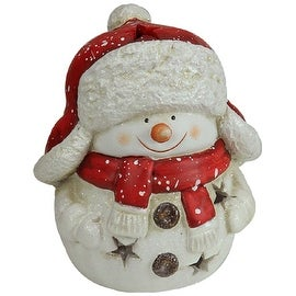 "7.75"" Christmas Morning Terracotta Snowman Decorative Christmas Tealight Candle Holder"
