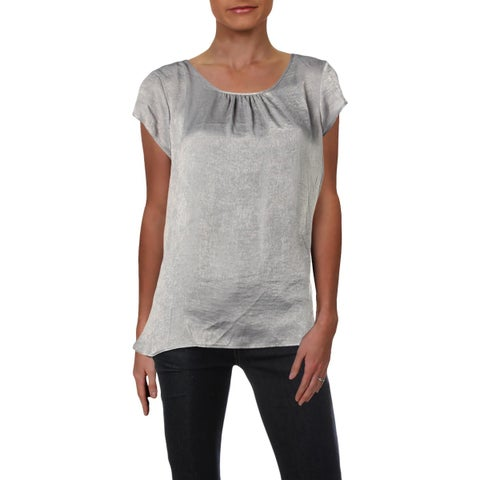 NY Collection Womens Pullover Top Satin Short Sleeves