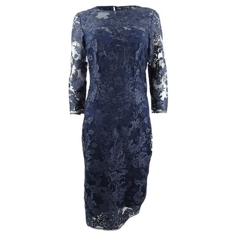 JS Collections Women's Embroidered Lace Sheath Dress - Navy