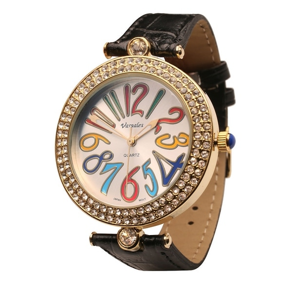 Women's Rainbow Rhinestone Studded Watch With Textured Leather Band