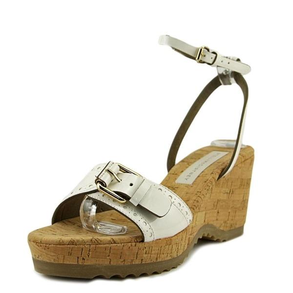 Stella McCartney Lorien Women Open Toe Patent Leather White Wedge Sandal