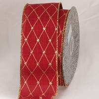"Burgundy and Gold Diamond Dot Wired Craft Ribbon 2.5"" x 20 Yards"