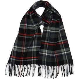 Winter or Fall Cold Weather Irish Plaid Long Cashmere Feel Scarf, Black Red