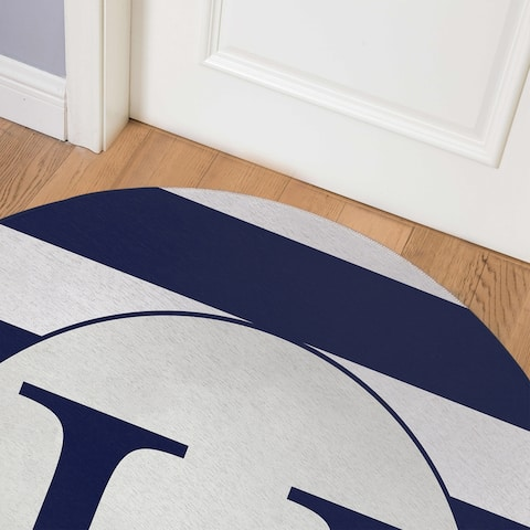 MONO NAVY STRIPED U Indoor Floor Mat By Kavka Designs