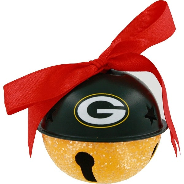 Green Bay Packers Metal Glitter Bell Ornament