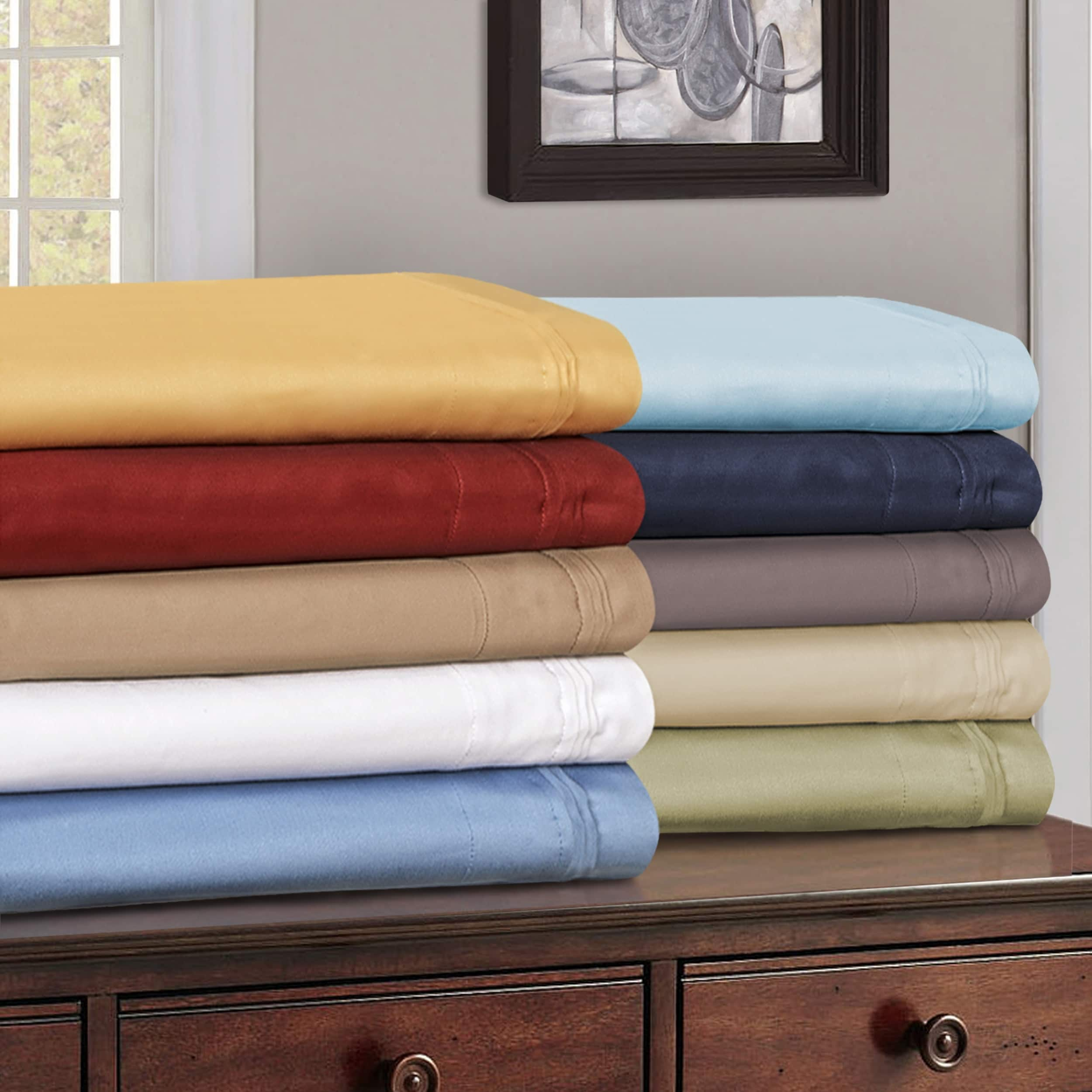 """15/"""" Deep Pocket Fitted Sheet 1000 TC Egyptian Cotton All US Sizes /& Solid Colors"""