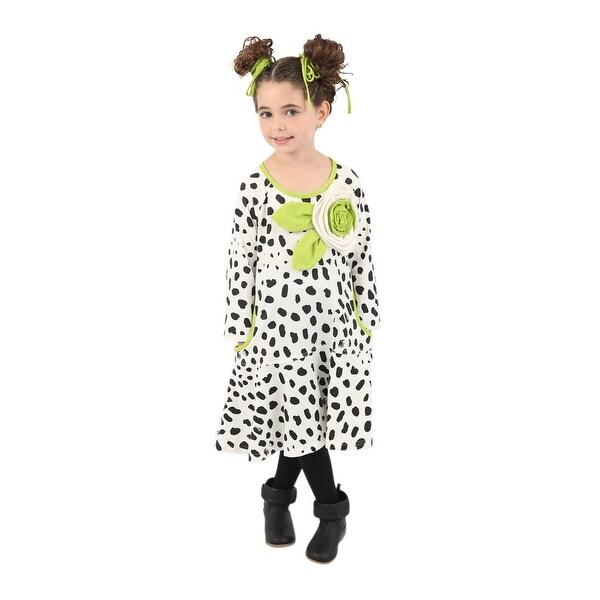 6c87145e81 Wonderland Little Girls White Animal Print Rosette Ruffle Tamara Dress