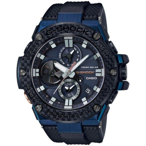 Casio Men's GSTB100XB-2A 'G-Shock' Black Rubber Watch - Blue
