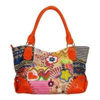 Blingalicious Women's Canvas Patch Handbag Q4972 Orange - US Women's One Size (Size None)