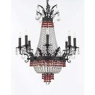 Empire Crystal Chandelier With Dark Antique Finish & Red Crystals