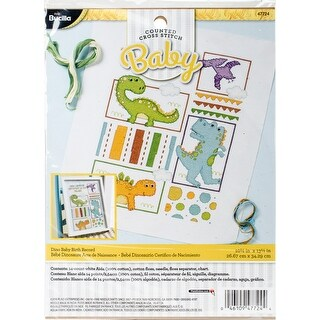 """Dino Baby Birth Record Counted Cross Stitch Kit-10.5""""X13.25"""" 14 Count"""