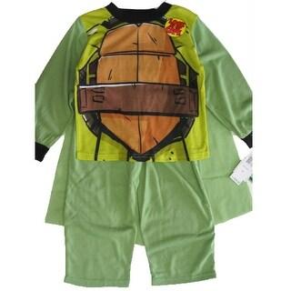 Nickelodeon Boys Green Ninja Turtles Cape 2 Pc Pajama Set 8-10