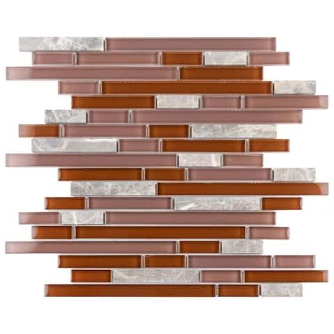 "SomerTile Tessera Piano Bordeaux 11-3/4"" x 11-7/8"" x 8 mm Glass and Stone Mosaic Tile"