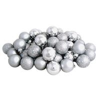 "96ct Silver Splendor Shatterproof 4-Finish Christmas Ball Ornaments 1.5"" (40mm)"
