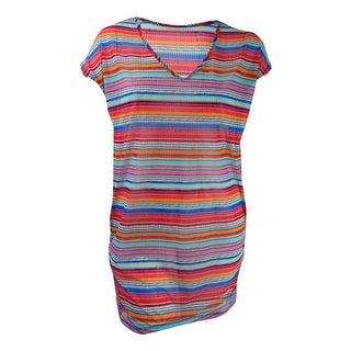 Anne Cole Women's Plus Size Striped Mesh Cover-Up Tunic - multi