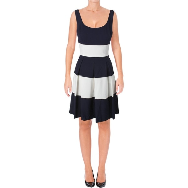 Lauren Ralph Lauren Womens Saniya Casual Dress Colorblock Pleated