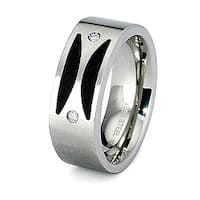 8mm Stainless Steel and Porcelain Ring with CZ Accents (Sizes 8-12 )