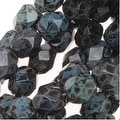 Czech Fire Polished Glass Beads 6mm Round Jet Picasso (25) - Thumbnail 0