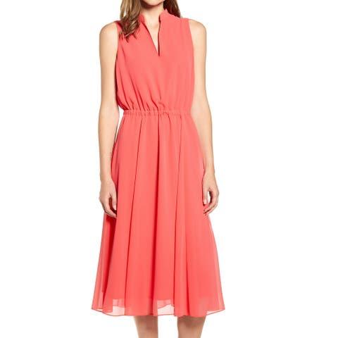 Anne Klein Womens A-Line Dress Coral Pink Large L Chiffon Split-Neck