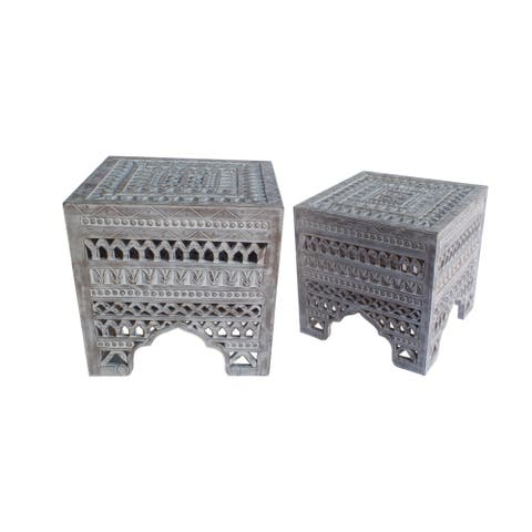 Intricately Carved Square Mango Wood Stool with Cutout sides, Set of 2, Washed White
