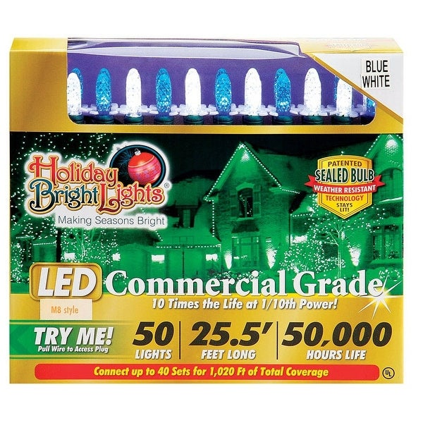 Holiday Bright Lights LED Commercial Light Set, 25-1/2', 50 lights