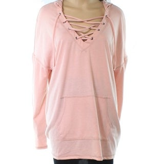 Caslon Pink Womens Size XL Long Sleeve Lace Up Pocket Hooded Sweater