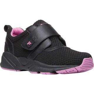 Propet Women's Stability X Hook and Loop Sneaker Black/Berry Mesh