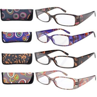 Eyekepper 4-Pack Mix Geometric Temples Spring Hinge Reading Glasses