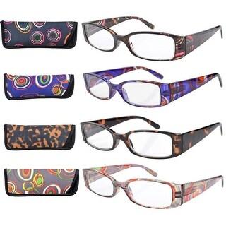 Eyekepper 4-Pack Mix Geometric Temples Spring Hinge Reading Glasses