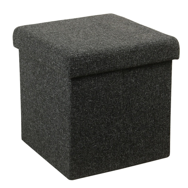 Fabric Upholstered Metal Collapsible Ottoman with Lift Off Lid Storage, Dark Gray