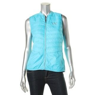 L-RL Lauren Active Womens Outerwear Vest Knit Trim Quilted
