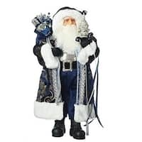 "18"" Blue and Silver Colored Santa Claus with Present Bag Christmas Tabletop Figure"