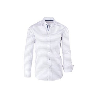 CLEARANCE White with Navy Polka-Dot Pattern Modern Fit, Long Sleeve Sport Shirt by Tiglio Sport SP8013/2