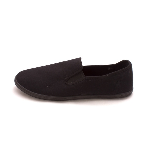 Easy USA Womens Cotton Slip-On Cotton Closed Toe Loafers - Black - 9