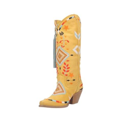 Dingo Western Boots Womens TOMA Leather Braided Tassel Marigold