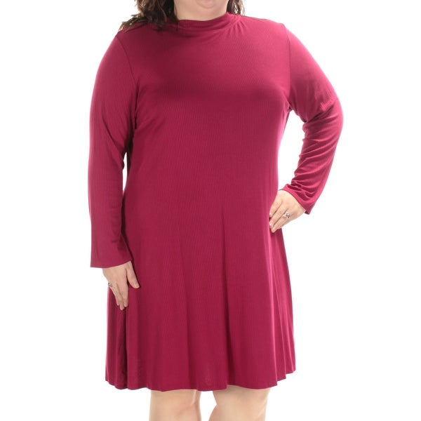 2fbb9c562a4 Shop LOVE SQUARED Womens Burgundy Long Sleeve Turtle Neck Knee Length  A-Line Dress Plus Size  2X - On Sale - Free Shipping On Orders Over  45 -  Overstock - ...
