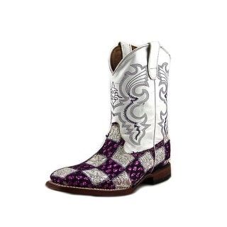 Ferrini Kids Patch Youth Square Toe Leather White Western Boot