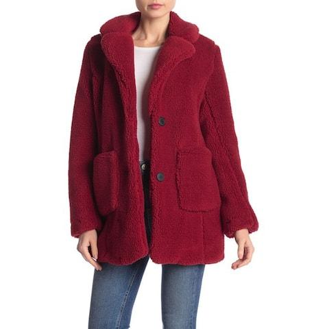 Sebby Notch Lapel Faux Shearling Jacket, Berry, Small