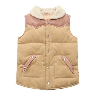 Richie House Little Boys Beige Winter Padding Corduroy Vest 1-7