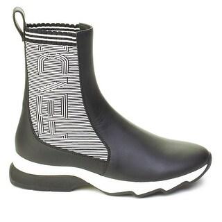 Fendi Women's Leather High-Top Sock Sneaker Shoes Black