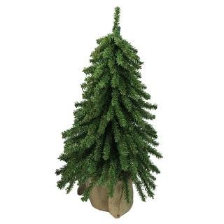 "18"" Downswept Mini Village Pine Artificial Christmas Tree in Burlap Base - Unlit"