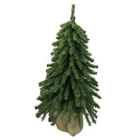 "18"" Downswept Mini Village Pine Artificial Christmas Tree in Burlap Base - Unlit - 1.5 Foot"