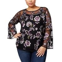 INC Black Purple Womens Size 1X Plus Floral Embroidered Blouse
