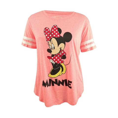 Hybrid Women's Trendy Plus Size Minnie Graphic T-Shirt - New Coral/White