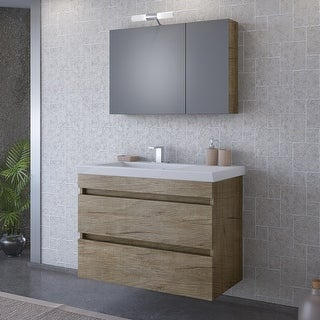 "Link to 32"" Elena Natural Wood Floating Vanity with Integrated Porcelain Sink Similar Items in Bathroom Vanities"