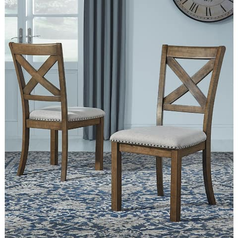 Moriville Beige Upholstered Nutmeg Finish Dining Side Chairs (Set of 2) - N/A